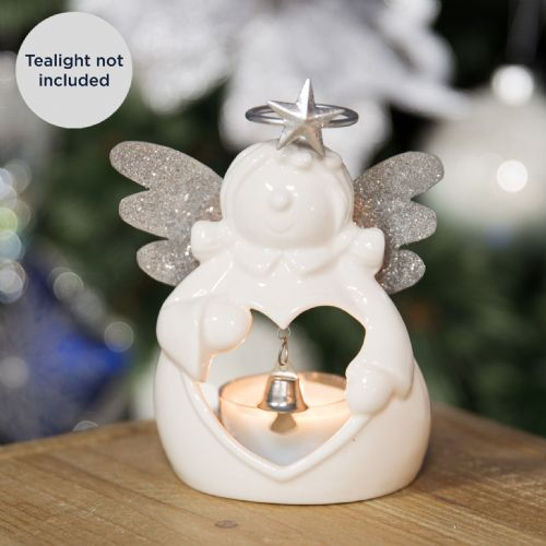 Little White Angel Christmas Candle Holder - Ceramic T Light holder silver and white